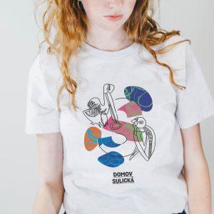 Bílé tričko s ptačím motivem